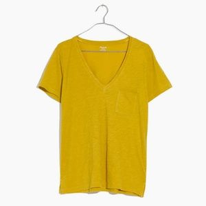 Madewell Whisper Cotton V-Neck Pocket Tee Golden